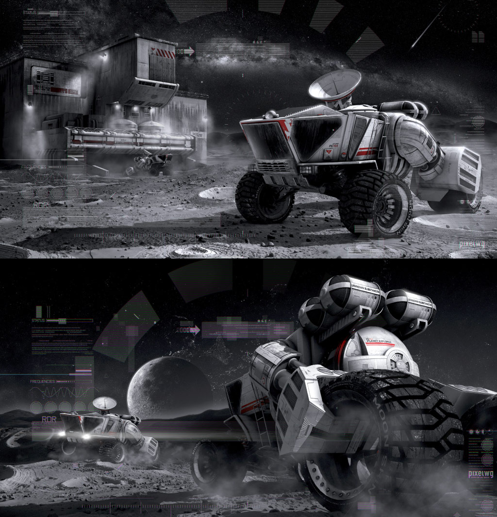 3D Moon Car - Science Fiction Artwork