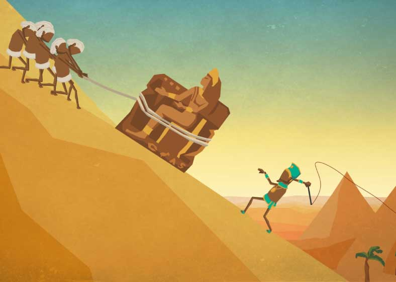 Artwork, Motion Design und Character Animation für den Imagespot - industrystock.com